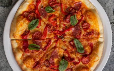 Chorizo, Roasted Red Peppers & Blushed Cherry Tomatoes Pizza
